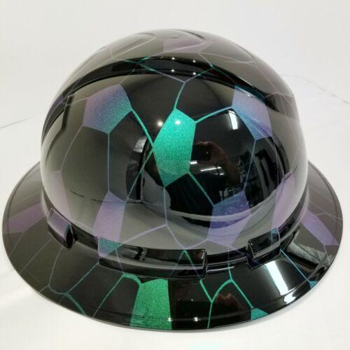 FULL BRIM Hard Hat custom hydro dipped COLOR SHIFT HEX CAMO BLACK SUPER SICK 1