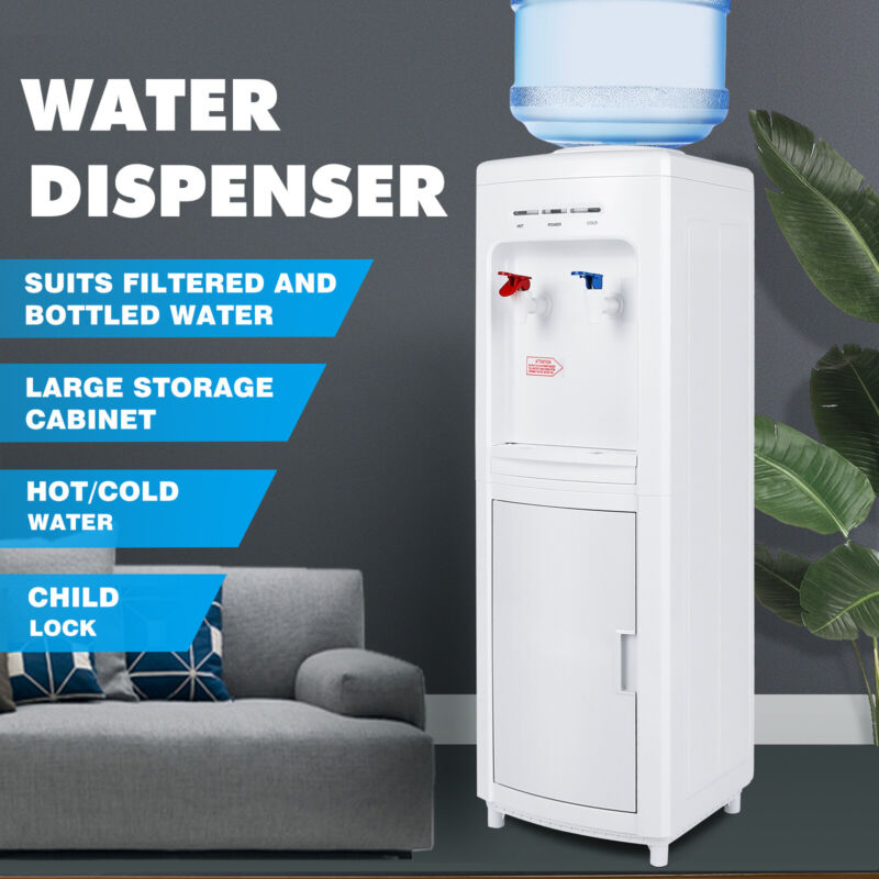 5 Gallon Freestanding Top Loading Hot/Cold Water Cooler Dispenser w/Child Lock