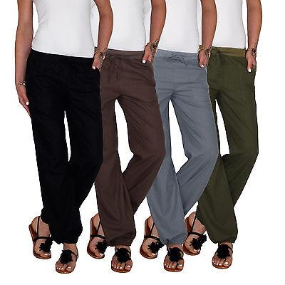 Damen Sommer Leinen Strand Boyfriend Pump Aladin Baggy Pluder Chino Hose E133 Damen Baggy Jeans