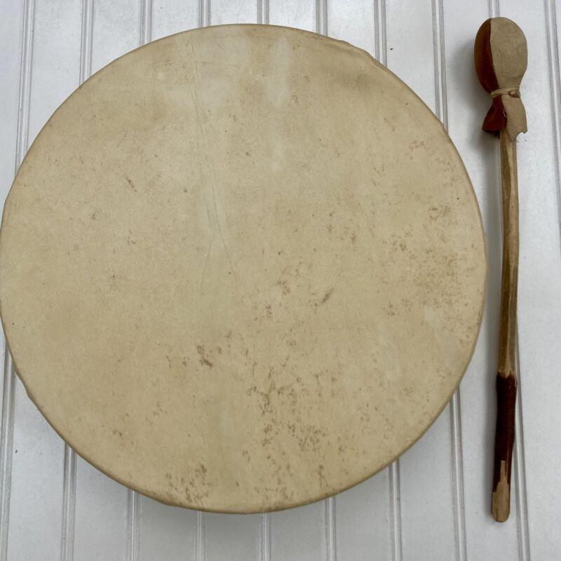 Handmade Authentic Native American Deer Skin Drum Pow Wow Tribal Deep Sound