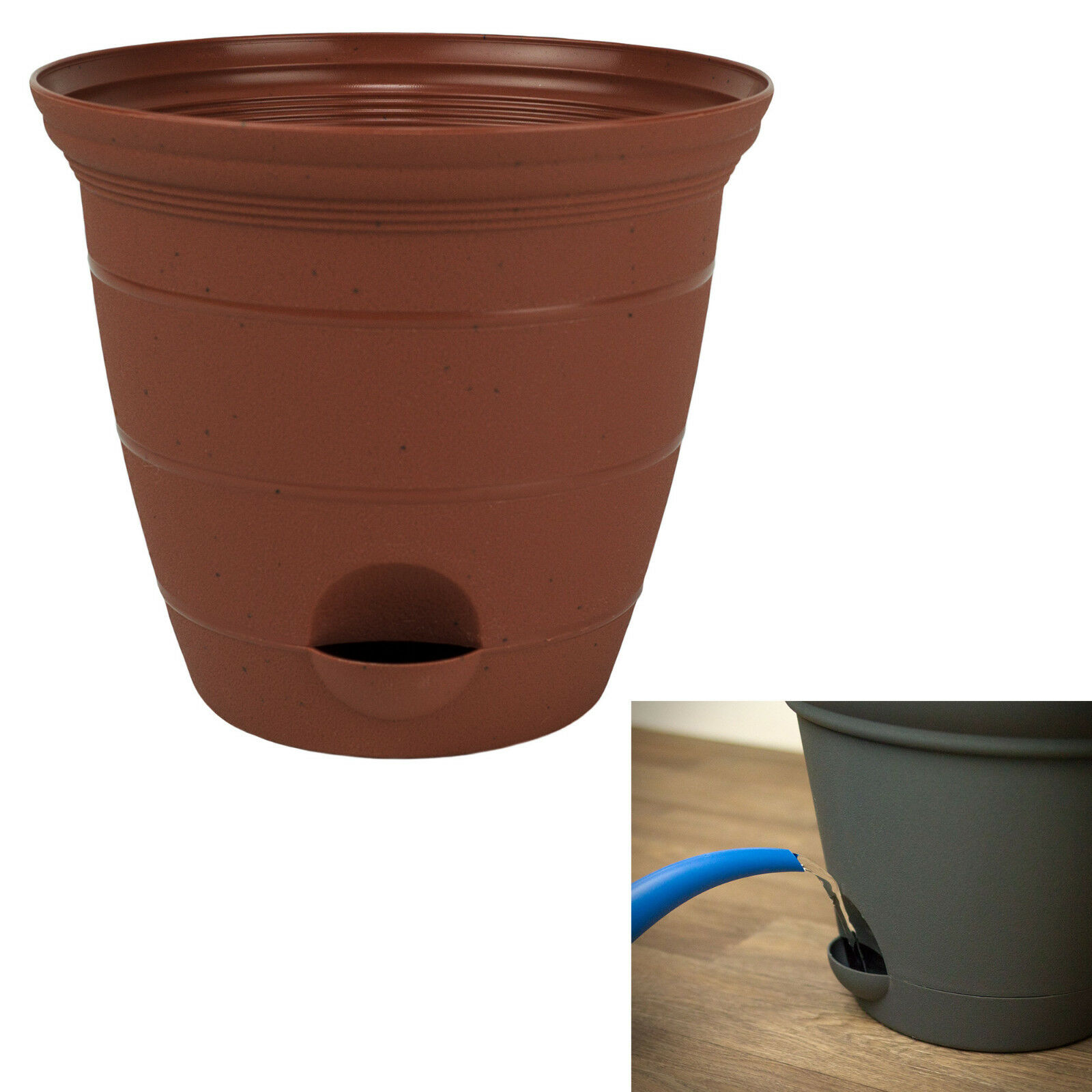 Plastic Self Watering Flower Potted Planter Pot Garden, Clay Color 6, 8, 10, 12