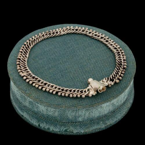 Antique Vintage Art Deco 925 Sterling Silver Curb Beaded Chain Bracelet 15.1g