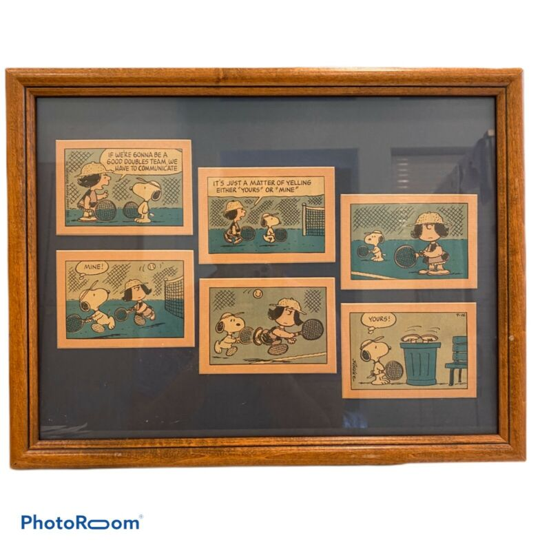 Framed Peanuts Comic Snoopy And Lucy Doubles Tennis 13.5 X 17.75