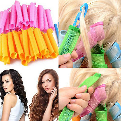 18Pcs Hair Curlers Twist Spiral Circle Ringlets Magic Rollers Styling DIY Set US