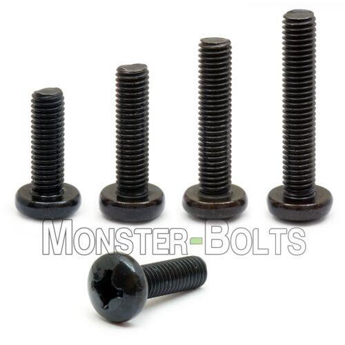 M4 Phillips Pan Head Machine Screws, Steel w Black Oxide & Oil, DIN 7985A Metric