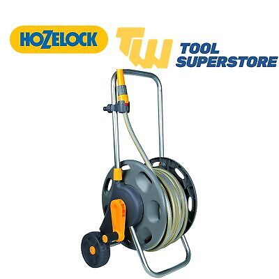 Hozelock Assembled 50m Garden Hose Pipe Cart With Wheels Fittings & Nozzle