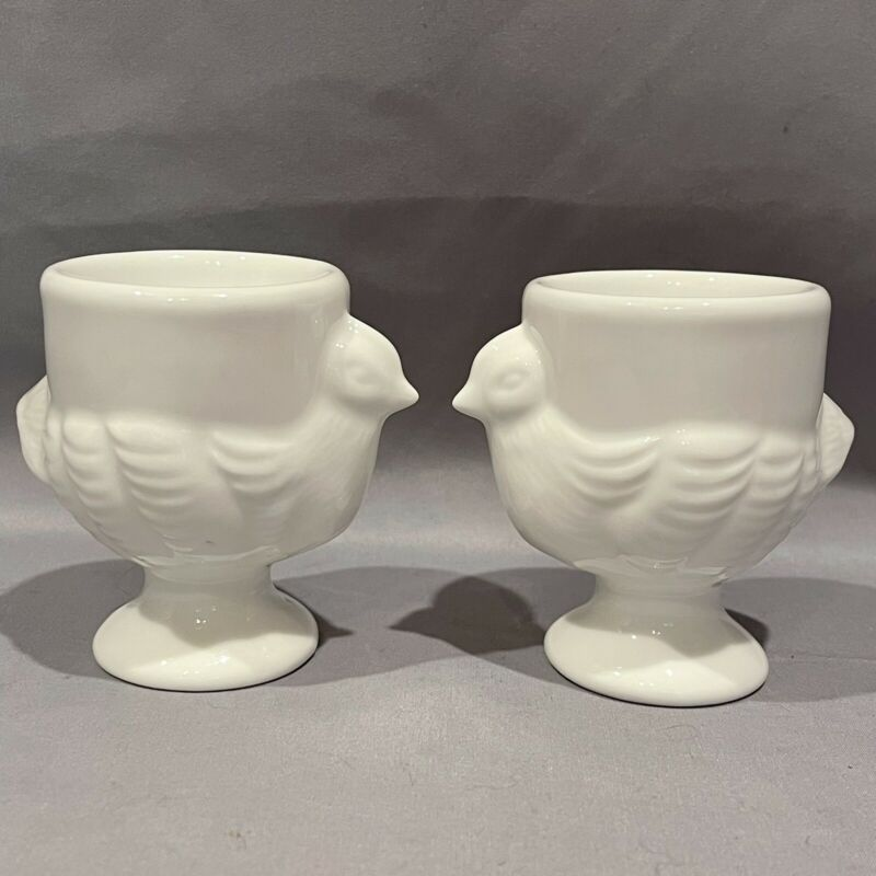 Chicken Egg Cup White Ceramic Set Of 2