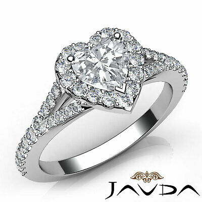 Halo Split Shank French Pave Heart Diamond Engagement Ring GIA F Color VVS2 1Ct