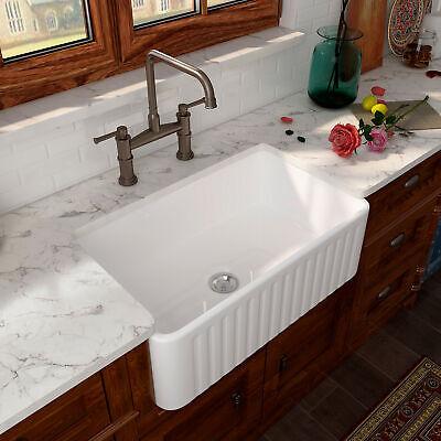 """Eridanus 30"""" White Ceramic Single Bowl Apron Farmhouse Kitchen Sink w/ Strainer"""