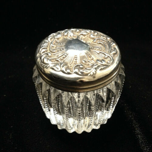 antique sterling lid on zipper cut crystal vanity powder jar rouge circa 1860