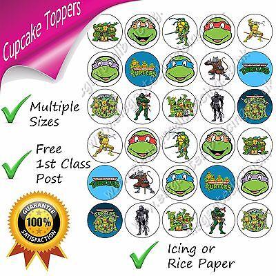 Turtles Party Cupcake Toppers Rice Paper or Pre-cut Icing (Teenage Mutant Ninja Turtles Cupcake Toppers)