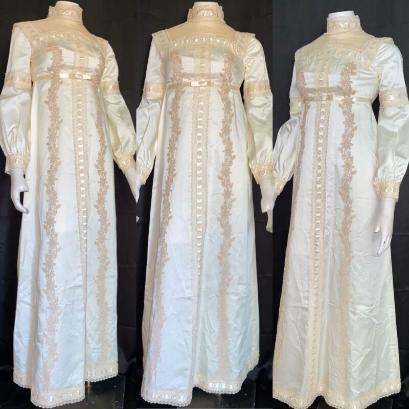VTG 60's Satin WEDDING DRESS Gown Ivory/Cream Beige Lace VICTORIAN LONG SLEEVE