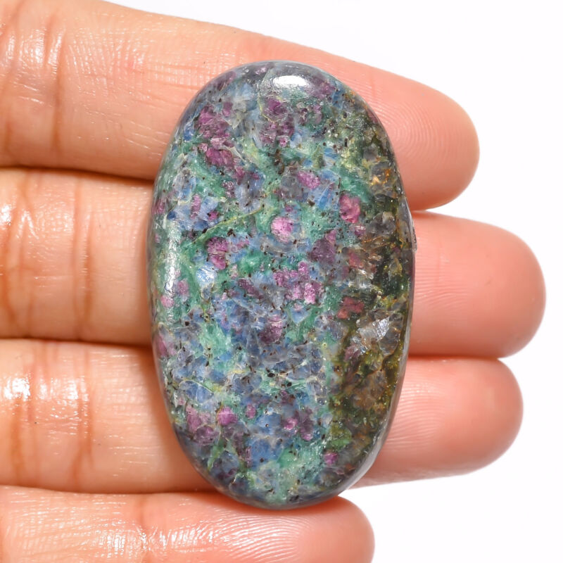 Natural Ruby Fuchsite Oval Cabochon Loose Gemstone 72.5 Ct. 42X25X6 mm EE-19153