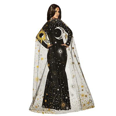 Invisible Halloween Costume (Womens Celestial Gypsy Sun Moon Invisibility Cloak Halloween Costume Sheer)