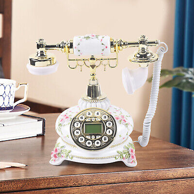Vintage Antique Style Telephone Corded Retro Dial Corded Phone Home Desk White