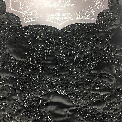 Bella Lux Halloween Black Velvet Table Runner Quilted Skull Decor Skeleton 16x90