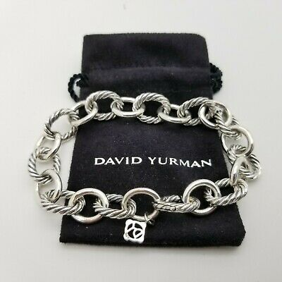 David Yurman Sterling Silver Classic Cable 12'mm Oval Link Chain 7.5 In Bracelet Oval Link Cable Chain