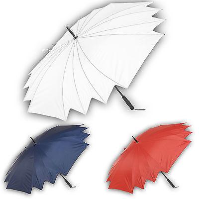 White Wedding Bride Bridesmaid Umbrella Large Black Handle Bridal Rain (Bridesmaid Parasols)
