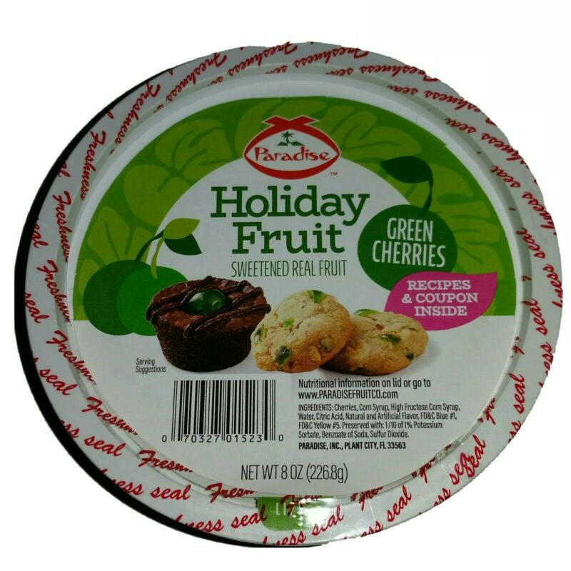 Paradise Green Whole Cherries Candied Fruit Glaze 5 pounds