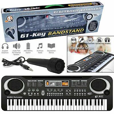61 Llaves Digital Música Electrónico Teclado Eléctrico Piano Organ & Micrófono