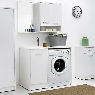 Lavatoio Colavene coprilavatrice Domestica tela bianco con vasca sinistra