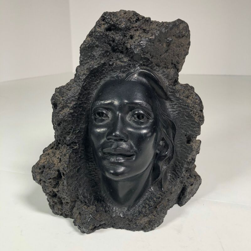 "Vintage 1962 CoCo Joe Hawaii Face Carving Made From Lava Rock 6.5"" Tall 3.5 lbs"