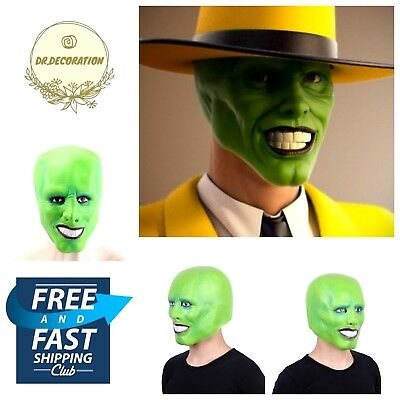 Jim Carrey Mask Halloween (Halloween Jim Carrey Green Mask Cosplay Costume Adult Fancy Dress Party Gift)