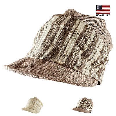 Morehats Striped Band Mesh Slouchy Fit Beanie Baseball Newsboy Cap Casual Hat - Newsboy Beanie