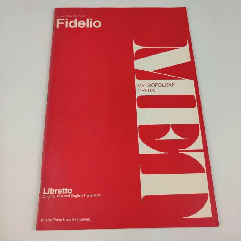 Vintage MET Metropolitan Opera Libretto Fidelio Ludwig Van Beethoven classical