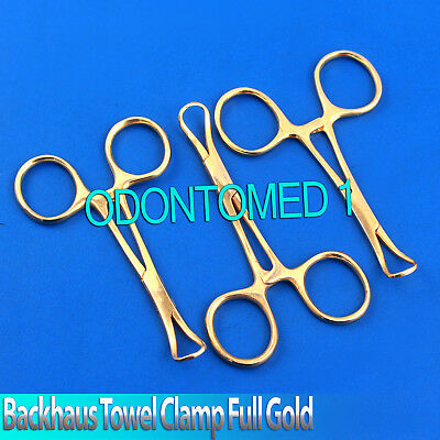 3 Backhaus Towel Clamp 3.5 Full Gold Surgical Instruments