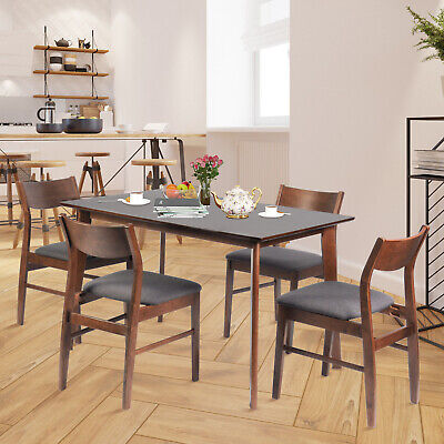 Luckyermore 5 Piece Wooden Dining Room Table Set 4 Chairs Kitchen Breakfast Home
