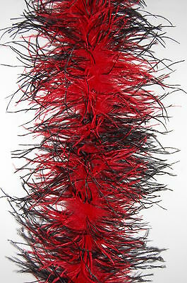 OSTRICH FEATHER BOA - RED/BLACK 4 Ply Two-Tone 72