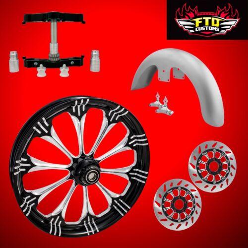 "23 Inch Big Wheel Kit, Wheel, Tire, Rotors,triple Tree, & Fender ""warlock"""
