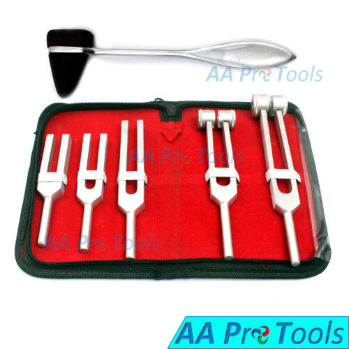 6 Tuning Fork Set Medical Surgical Chiropractic Physical Diagnostic + Hammer