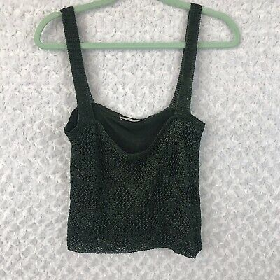 Zara Knit Forest Green Soft Open Knit Cropped Tank Top Size Medium Small