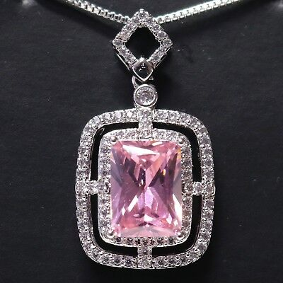Sparkling 5 Ct Pink Sapphire Moissanite Halo Necklace Women Jewelry 18