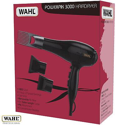 Wahl Powerpik 3000 Profesional 1800w Secador Peluquería/Peluquería 3M Cuerda
