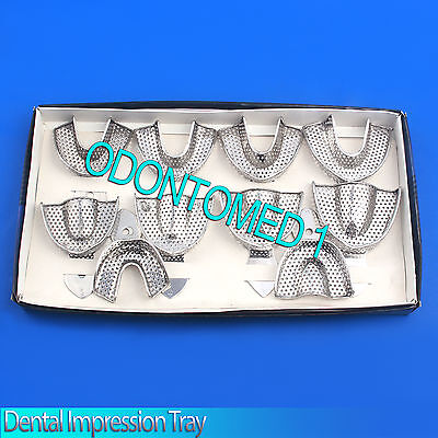 New Dental Impression Tray Stainless Steel Dentolous Set Of 10 Pcs