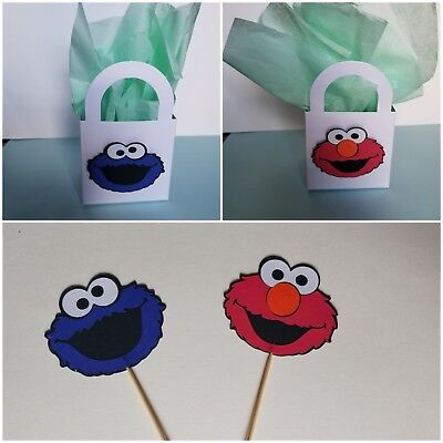 Cookie Monster Birthday Party Supplies (12 Cookie Monster/ Elmo Cupcake Toppers & Treat Bag Birthday Party Supplies)