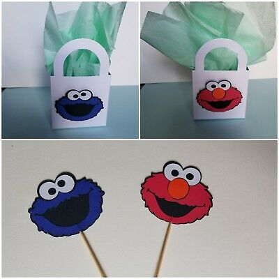 12 Cookie Monster/ Elmo Cupcake Toppers & Treat Bag Birthday Party Supplies