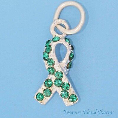 Green Awareness Ribbon Charm - Organ Donor Awareness Ribbon .925 Sterling Silver Charm Green Swarovski Crystal