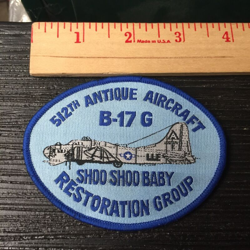 Vintage 512th Antique Aircraft B-17 G Shoo Shoo Baby Plane Patch N78