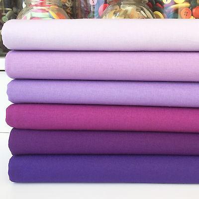 Rainbow Craft 100% cotton fabric blenders per 1/2 metre or 6 piece bundle purple