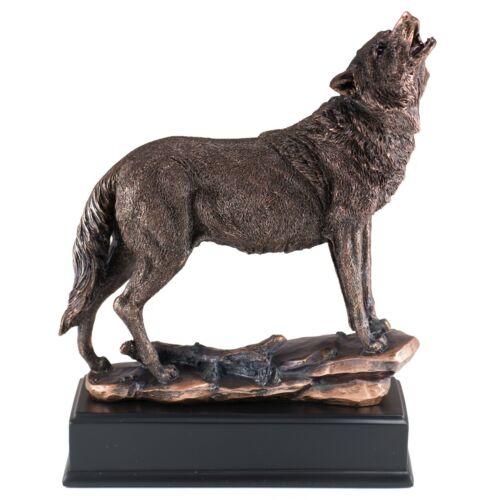 "Wolf Howling Bronze Copper Plated Figurine Statue Sculpture 10.25"" High New"