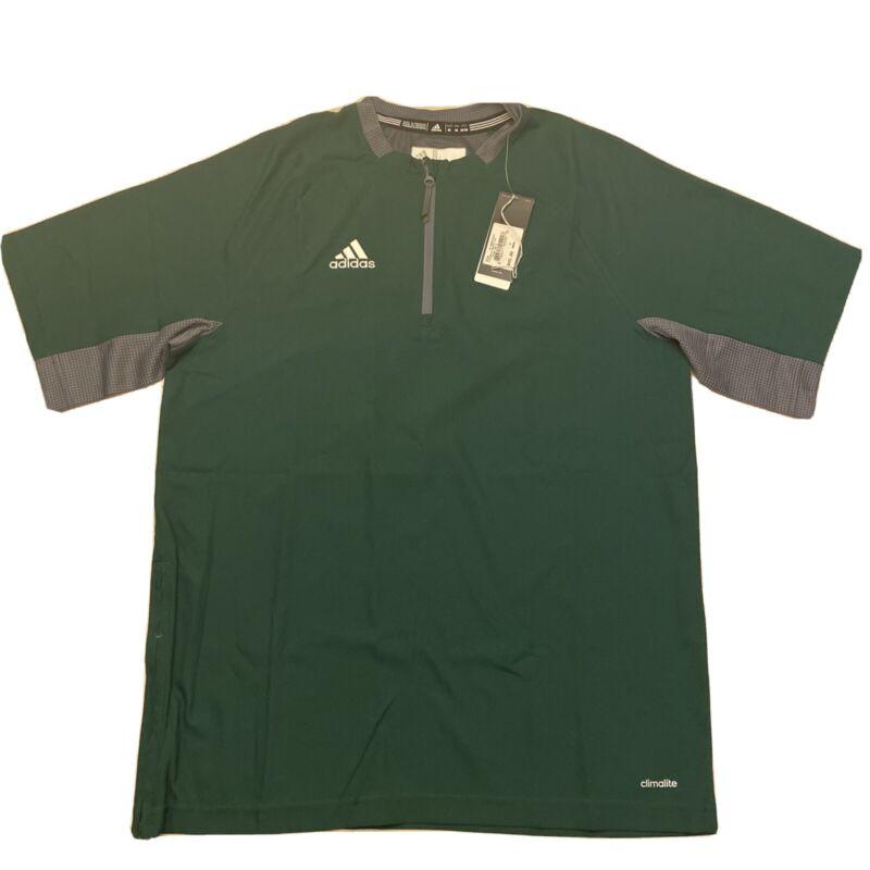 Adidas Mens Climalite Fielders Choice SS 1/4 Zip Batting Jacket Green Gray Sz M