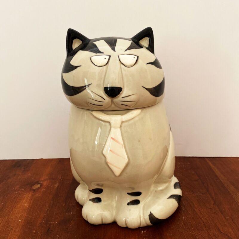 Vtg Tom Cat Cookie Jar Handpainted 70's