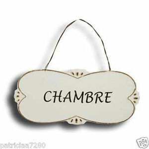 plaque de porte chambre en metal ecru decoration retro clementine creations ebay. Black Bedroom Furniture Sets. Home Design Ideas