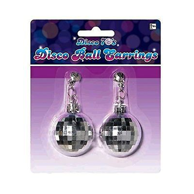 Amscan Swinging' 70's Fashion Silver Disco Ball Earrings Party Accessories, S...