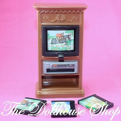 Fisher Price Loving Family Dollhouse Brown 3 Channel Flip TV Television DVDs