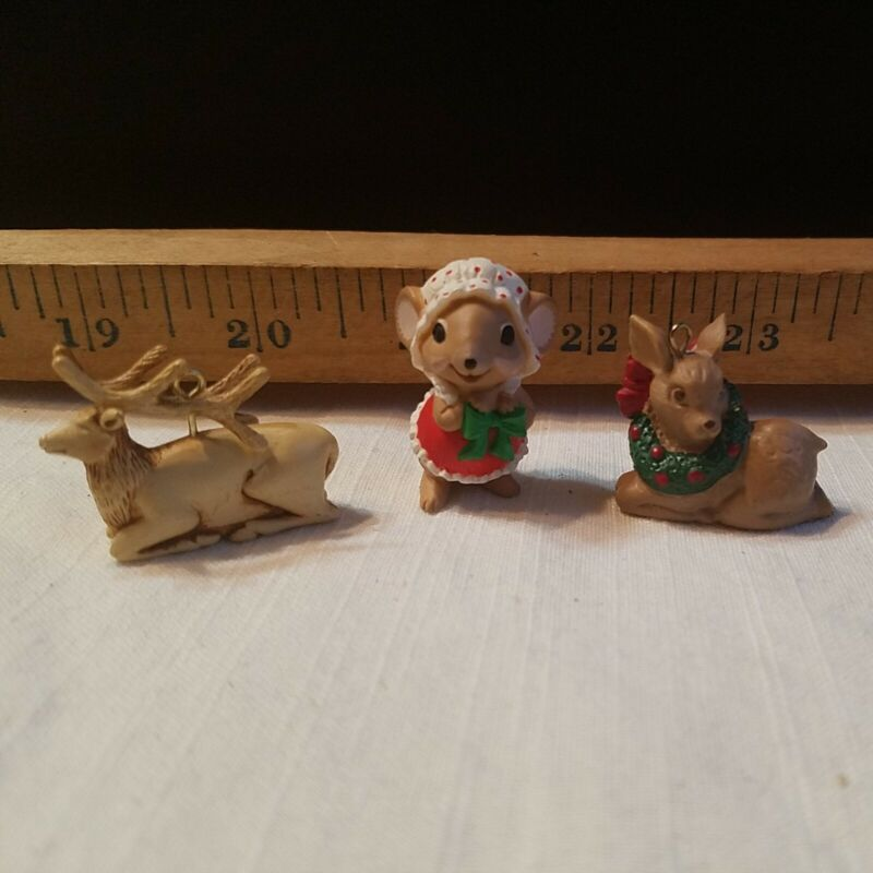 Christmas Miniatures Elk Deer Mouse RUSS And Hallmark
